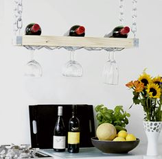 Make a hanging wine rack