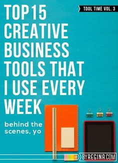 Details on the Top 15 Creative Business Tools I Use as an Infopreneur every single week. These tools are excellent for any #blogger or #freelancer or person who wants to package and sell information products.