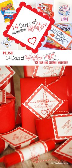 Wow your valentine with 14 days of Valentines! Plus, download {Do Not Open Until} Cards for each gift -- perfect for college students, military spouses, LDS missionaries and any long-distance Valentine! Stop by OneCreativeMommy.com to download all the printables. {I Love You and We Love You Sets}