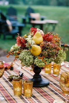 Fruit and Flower Arrangements as Centerpieces Fall Flower Arrangement someone say pink flowers :P Ombre Flower Arrangement How-To Fall Wedding Centerpieces, Wedding Table, Wedding Ideas, Wedding Boquette, Plaid Wedding, Blue Wedding, Wedding Trends, Floral Wedding, Wedding Details