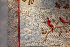 closeup of Denise Sheehan's quilt - quilted by Lani of Livermore, CA - love the different fills