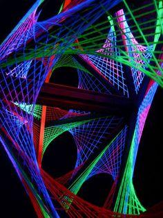 "115cm 3D String Art Deko ""Out Of Space"" Neon Party Blacklight   eBay"