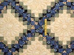 Blue Green and Tan Triple Irish Chain Quilt Photo 4
