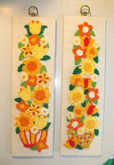 Vintage Crewel Wall Hanging With Yellow and Orange Flowers