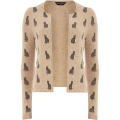 Camel cat print fluffy cardigan ($35) ❤ liked on Polyvore