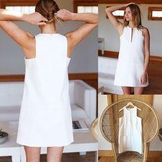 emerson fry Cut Out Mod Dress - White Cut Out Mod Dress Diy Fashion, Ideias Fashion, Fashion Dresses, Fashion Design, Fashion Today, White Linen Dresses, White Dress, Mode Outfits, Casual Outfits