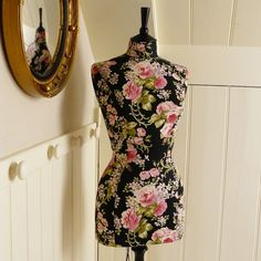A handmade mannequin in a gorgeous floral print. Swoon!