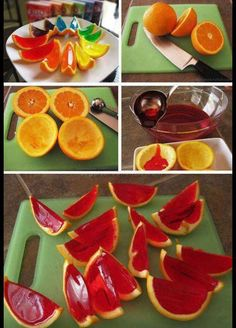 diy orange jello slices ideas craft ideas diy ideas diy crafts decorations crafty food party ideas diy food easy food crafts party food diy fruit diy party -OMFG i'm gonna try this! Orange Jello Shots, Jello Orange Slices, Fruit Jello Shots, Jello Desserts, Fruit Dessert, Party Desserts, Comida Diy, Good Food, Candy Buffet