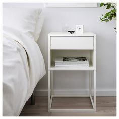 IKEA - VIKHAMMER, Bedside table, white, The drawers close silently and softly, thanks to the integrated soft-closing function. Bedside Table Ikea, Small Nightstand, Nightstand Ideas, White Bedside Tables, Nightstands, Bedroom Furniture, Bedroom Decor, Ikea Bedroom, Furniture Storage