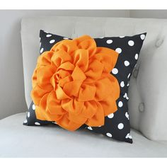 Halloween Pumpkin Orange Home Decor Decorative Pillow Halloween... ($33) ❤ liked on Polyvore featuring home, home decor, throw pillows, decorative pillows, home & living, home décor, orange, flower stem, black and white accent pillows and polka dot throw pillow