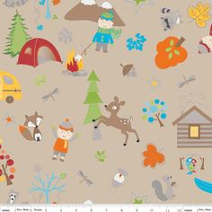 Fox Trails Main Tossed Camping Outdoor Fun Brown by Doohikey Designs Cotton Riley Blake Fabrics  - 1 Yard via Etsy