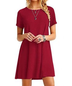 2018 Summer Women Simple Casual Dress Short Sleeve O-Neck Solid Color Dress Loose Plus Size Xxxl Vestidos Plus Size Maxi Dresses, Sexy Dresses, Short Sleeve Dresses, Flowy Dresses, Long Sleeve, Casual T Shirt Dress, Casual Summer Dresses, Cocktail Rouge, Moda Chic