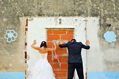 Bride and groom creative wedding portrait in Ankaran, Slovenia  www.samorovan.com