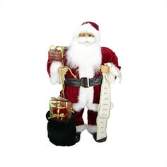 32 Traditional Standing Santa Claus Christmas Figure with Name List and Gift Bag, White
