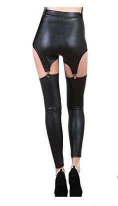 21d7eff45 SACASUSA (TM) Sexy Black Wetlook Faux Leather Like Footless Leggings S-M in  Red