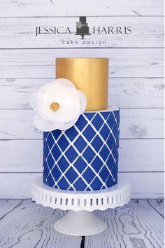 Diamond Lattice Cake Template - 3 Designs - Jessica Harris Cake Design 18th Birthday Cake, Adult Birthday Cakes, Pretty Cakes, Beautiful Cakes, Bolo Floral, Cake Design Inspiration, Geometric Cake, Cake Templates, Patterned Cake