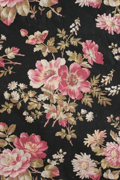 Antique French floral  printed cotton floral design black ground c1870 pinks
