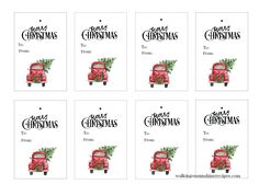Red Truck Christmas Tree Gift Tags are FREE for you to print and use in all your holiday and Christmas gift-giving this year! Free Printable Christmas Gift Tags, Christmas Gift Tags Printable, Holiday Gift Tags, Holiday Crafts, Christmas Tree With Gifts, Christmas Ideas, Christmas Jam, Thanksgiving Ideas, Christmas Ornament
