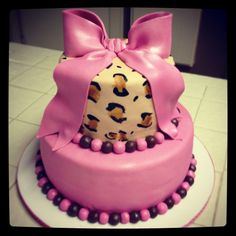 Pink Leopard Cake for Girls baby shower