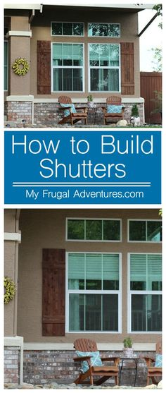 Super simple DIY outdoor shutters Such a fast an Outdoor Shutters, Wood Shutters, Houses With Shutters, Repurposed Shutters, Home Remodeling Diy, Home Renovation, Diy Exterior, Exterior Shutters, Exterior Remodel