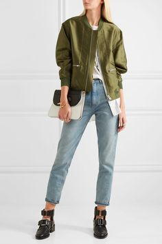 Army-green satin, white and light-gray poplin  Zip fastening through front  Fabric1: 88% polyester, 12% silk; fabric2: 58% polyester, 42% cotton; fabric3: 86% viscose, 14% elastane  Dry clean Designer color: Everglade Imported