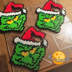 The Grinch - Christmas perler beads by pixel_planet_ The Grinch, Grinch Christmas, Christmas Ornaments, Hama Beads Design, Diy Perler Beads, Pearler Bead Patterns, Perler Patterns, Plastic Beads Melted, Christmas Perler Beads