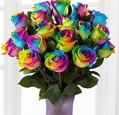 Rainbow Roses Bouquet with free vase | Flowers Delivery 4 U | Southall, Middlesex