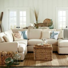Get inspired by Coastal Living Room Design photo by Krista + Home. Wayfair lets you find the designer products in the photo and get ideas from thousands of other Coastal Living Room Design photos. Beach Living Room, Home Living Room, Living Room Designs, Living Room Furniture, Living Room Decor, Apartment Living, Coastal Furniture, Cottage Living, Furniture Decor