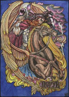 Perun by Righon, god of thunder and lightning. His other attributes were the fire, mountains, the oak, weapons, and war. He was first associated with weapons made of stone and later with those of metal.