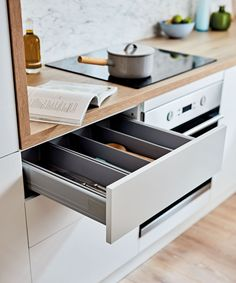 It's often the little things that count! Our soft-close metal-sided drawers are perfect if you're looking to add some understated luxury to your kitchen. New Kitchen, Building Design, Your Space, Shoe Rack, Count, Drawers, House Design, Trends, Cabinet