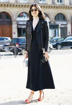 Layer a light turtleneck under any open dress or top for a contrast in color or texture (or both!).
