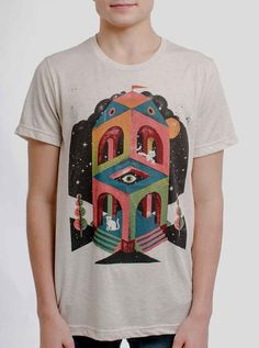 60c075b14 Space Cathedral - Multicolor on Heather Oatmeal Triblend Mens T Shirt - Curbside  Clothing Heather White