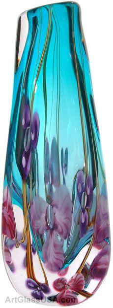 Handblown glass vases by Roger Gandelman featuring floral designs. Blown Glass Art, Art Of Glass, Glass Artwork, Cut Glass, Cristal Art, Glass Design, Glass Bottles, Perfume Bottles, Wine Glass