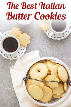 A buttery simple Italian Cookie. This is the easiest butter cookie recipe! Serve this easy cookie recipe as a holiday cookie or with tea or coffee in the afternoon. Try making these easy Italian Butter Cookies for afternoon tea, or anytime! #buttercookies #cookies Italian Butter Cookies, Butter Cookies Recipe, Easy Sugar Cookies, Yummy Cookies, Cookie Desserts, Cookie Recipes, Dessert Recipes, Bar Recipes, Yummy Recipes