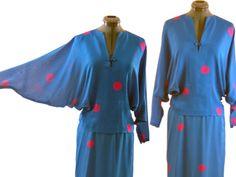 Vintage 80s Silk Dress Pauline Trigere Bat Wing Sleeves Blue Pink Polka dot 10