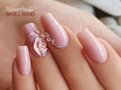 Wedding Nails-A Guide To The Perfect Manicure – NaiLovely Cute Acrylic Nails, 3d Nails, Pink Nails, Gorgeous Nails, Pretty Nails, Cute Nails, Bride Nails, Wedding Nails, Nail Art Strass