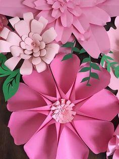 Telón de fondo de flores flores de papel gigantes pared de
