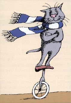 """Cat on a Unicycle"" Edward Gorey. John Gorey – was an American writer and artist noted for his illustrated books. His characteristic pen-and-ink drawings often depict vaguely unsettling narrative scenes in Victorian and Edwardian settings. Crazy Cat Lady, Crazy Cats, Tim Burton, Wells, Edward Gorey, Sleepy Cat, Cat Drawing, Ragdoll Kittens, Funny Kittens"