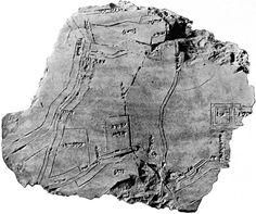 Clay tablet thought to contain a map of the city of Nippur in Mesopotamia, 1400 BCE. This is the oldest known map of an urban area.