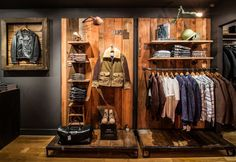 Schott NYC 236 Elizabeth Street Perfecto Brand Collection, via A Continuous Lean Clothing Store Design, Hunting Stores, Clothing Displays, Retail Merchandising, Retail Store Design, Store Fixtures, Retail Space, Store Displays, New Shop