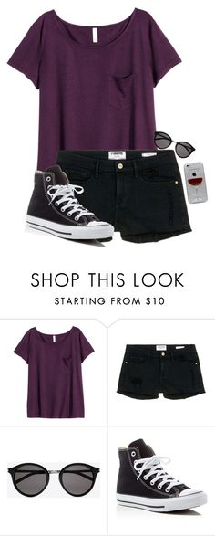 """""""Untitled #892"""" by xlostgirl18 ❤ liked on Polyvore featuring H&M, Frame Denim, Yves Saint Laurent, Converse and Reyes"""