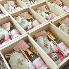 Custom pink and gold bridesmaid proposal gifts | wedding prep | survival kit | champagne labels | chocolate | Barbona gifts