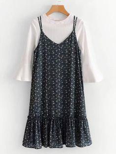 Flounce Sleeve Top & Calico Print Cami DressFor Women-romwe