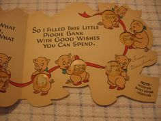 Vintage Novelty Piggy Bank Dime Keeper Birthday Card from joyland on Ruby Lane