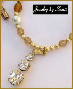 Swarovski Pendant Necklace // Gold Pearls Crystals // Matching Earrings Available // SRAJD #etsy #OOAK