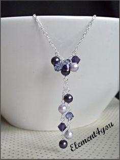 Purple necklace Swarovski crystals pearls Pearl by lesley