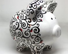 Swirly Piggy Bank hand painted by SwirlyBugz on Etsy Pebble Painting, Pottery Painting, Ceramic Painting, Penny Bank, Hand Doodles, Piggly Wiggly, Cute Piggies, Clear Glass Vases, This Little Piggy