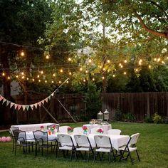 Backyard Engagement Parties, Backyard Birthday Parties, Outdoor Birthday, Backyard Wedding Decorations, Engagement Party Decorations, Outdoor Party Decor, Backyard Party Lighting, Outdoor Parties, Outdoor Lighting