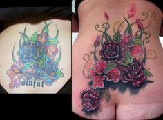 female back tattoos – foot tattoos for women flowers Flower Cover Up Tattoos, Flower Tattoo Hand, Flower Tattoo Meanings, Tattoos For Women Flowers, Foot Tattoos For Women, Back Tattoo Women, Flower Tattoo Shoulder, Cover Tattoo, Lower Back Tattoo Designs