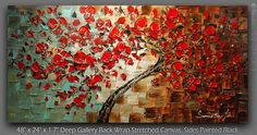 Red Cherry Blossom Tree Oil Painting Thick Texture -by Susanna Shap